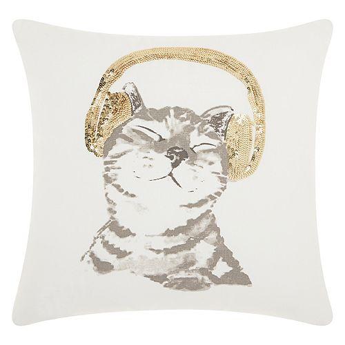 Mina Victory Trendy, Hip & New Age DJ Glitter Kitten Throw Pillow