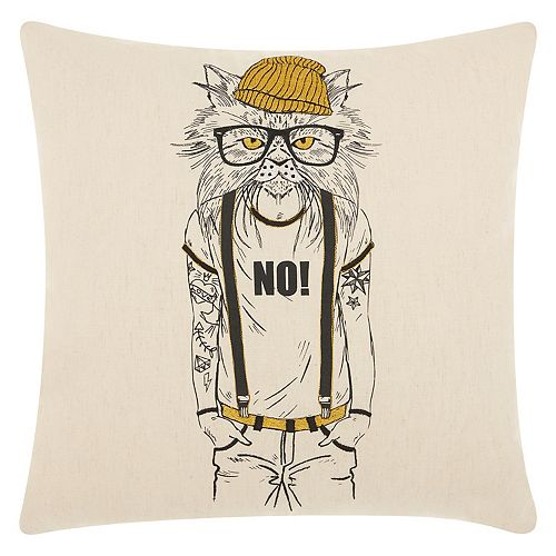 Mina Victory Trendy, Hip & New Age Tattooed Cat Throw Pillow