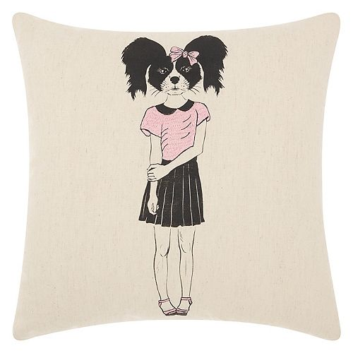 Mina Victory Trendy, Hip & New Age Cute Girl Collie Throw Pillow