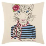 Mina Victory Trendy, Hip & New Age Scarf Snow Leopard Throw Pillow