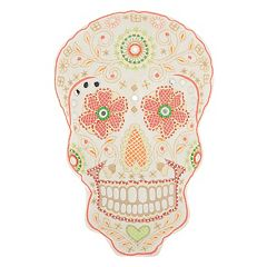 Mina Victory Trendy, Hip & New Age Day of the Dead Skull I Shaped Throw Pillow