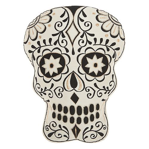 Mina Victory Trendy, Hip & New Age Day of the Dead Skull II Shaped Throw Pillow
