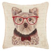 Mina Victory Trendy, Hip & New Age Studious Yorkie Throw Pillow