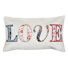 Spencer Home Decor 'Love' Patches Oblong Throw Pillow