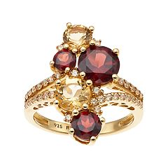 14k Gold Over Silver Citrine & Garnet Cluster Ring