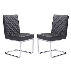 Zuo Modern Quilted Armless Dining Chair 2-piece Set