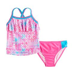 Girls 4-6x SO® Tie-Dye Tribal Print Tankini Top & Bottoms Swimsuit Set