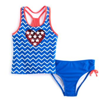 Girls 4-16 SO® Stars & Chevron Flip Sequins Tankini Top & Bottoms Swimsuit Set
