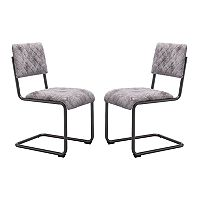 Zuo Modern Father Faux-Leather Armless Dining Chair 2 pc Set