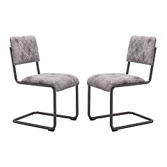 Zuo Modern Father Faux-Leather Armless Dining Chair 2-piece Set