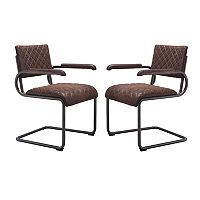 Zuo Modern Father Faux-Leather Arm Dining Chair 2 pc Set