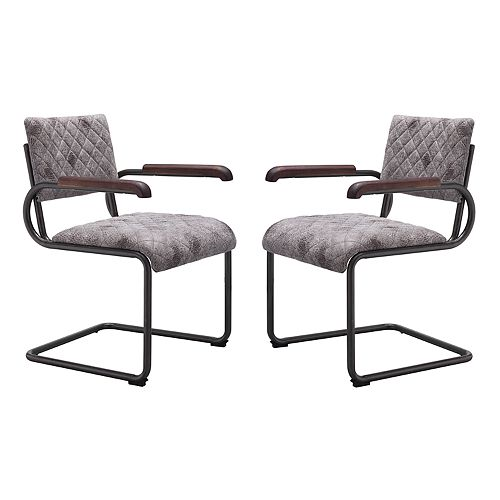 Zuo Modern Father Faux-Leather Arm Dining Chair 2-piece Set