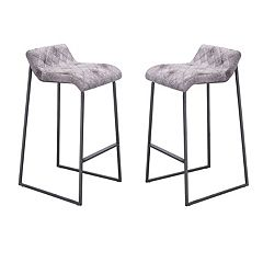 Zuo Modern Father Distressed Faux-Leather Bar Stool 2 pc Set