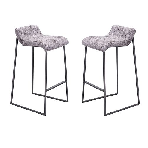 Zuo Modern Father Distressed Faux-Leather Bar Stool 2-piece Set