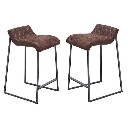 Zuo Modern Father Distressed Faux-Leather Counter Stool 2-piece Set