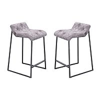 Zuo Modern Father Distressed Faux-Leather Counter Stool 2 pc Set