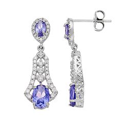 Sterling Silver Simulated Tanzanite & Cubic Zirconia Drop Earrings