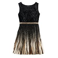 Girls 7-16 My Michelle Foil Pleated Velvet Dress