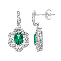 Sterling Silver Simulated Emerald & Cubic Zirconia Flower Drop Earrings