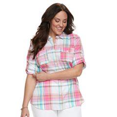 Plus Size Croft & Barrow® Roll-Tab Woven Shirt