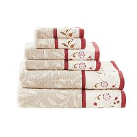 Madison Park Belle Embroidered Jacquard 6 pc Towel Set