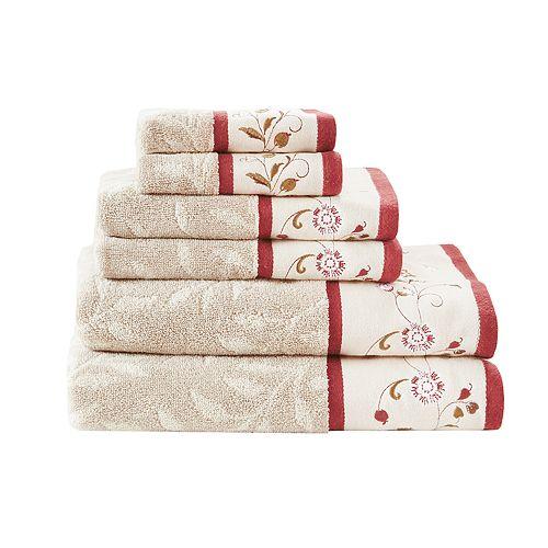 Madison Park Belle Embroidered Jacquard 6-piece Towel Set