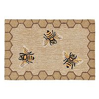 Trans Ocean Imports Liora Manne Frontporch Framed Honeycomb Bee Indoor Outdoor Rug