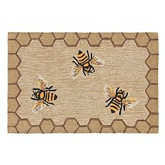 Liora Manne Frontporch Framed Honeycomb Bee Indoor Outdoor Rug