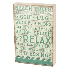 'Beach Rules' Box Sign Art