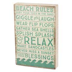 'Beach Rules' Box Sign Art
