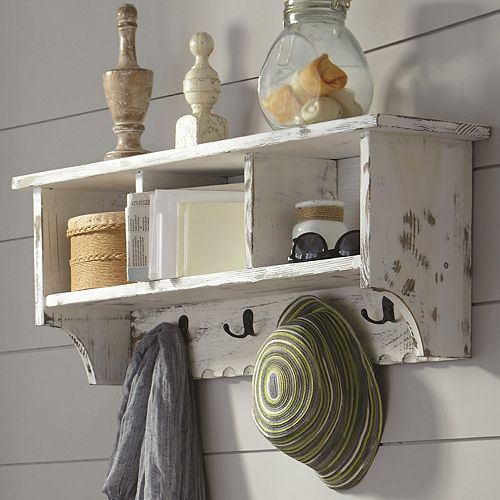 Alaterre Furniture Country Cottage Coat Hook Cubby Wall Shelf