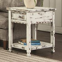 Alaterre Furniture Country Cottage Distressed End Table