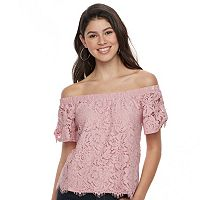 Juniors' Liberty Love Lace Off-the-Shoulder Top