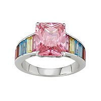 Sterling Silver Multicolor Cubic Zirconia Rectangle Ring