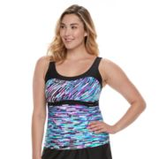 Plus Size ZeroXposur Printed Empire Tankini Top
