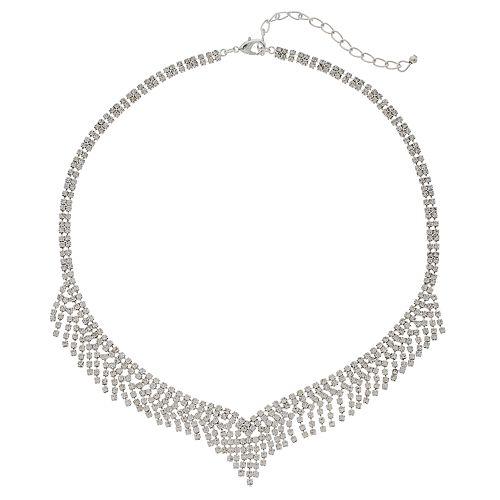 Simulated Crystal Fringe V Necklace