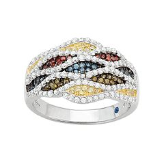 Sterling Silver Multicolor Cubic Zirconia Wavy Ring