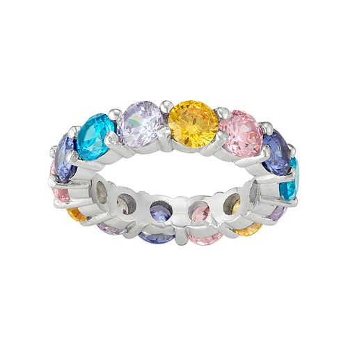 Sterling Silver Multicolor Cubic Zirconia Ring