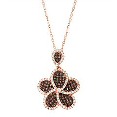 14k Rose Gold Over Silver Cubic Zirconia Flower Pendant