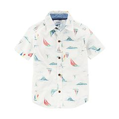 Toddler Boy Carter's Sail Boats Button Down Shirt