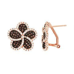 14k Rose Gold Over Silver Cubic Zirconia Flower Stud Earrings