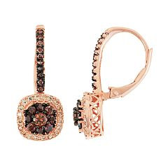 14k Rose Gold Over Silver Cubic Zirconia Halo Drop Earrings