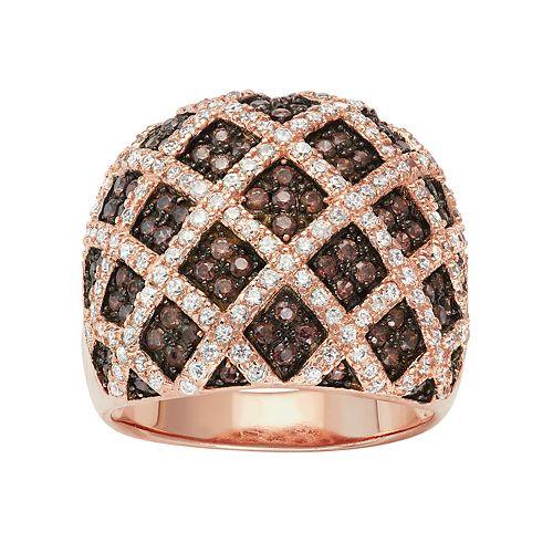14k Rose Gold Over Silver Cubic Zirconia Lattice Ring