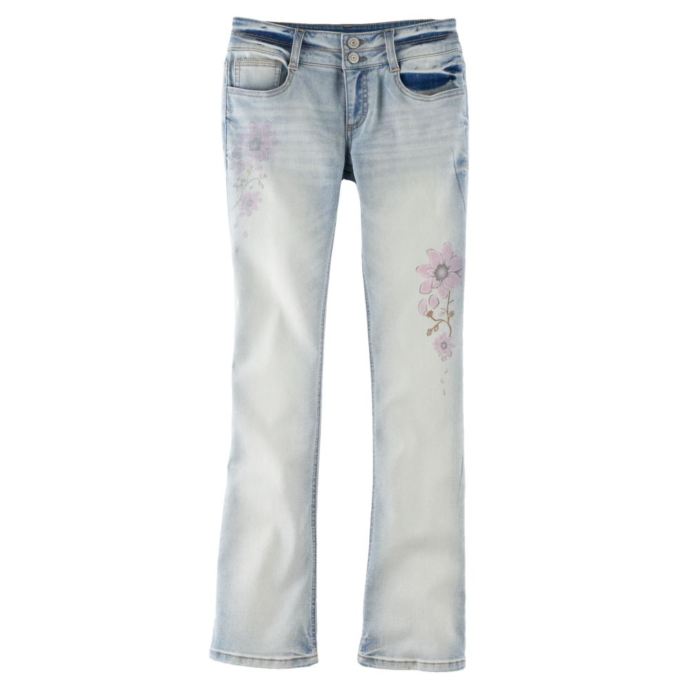 7-16 Mudd® Faded Flower Double-Button Skinny Bootcut Jeans