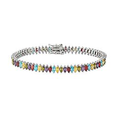 Sterling Silver Multicolor Cubic Zirconia Marquise Bracelet