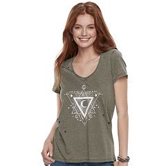 Juniors' Grayson Threads Celestial Triangle Destructed Tee