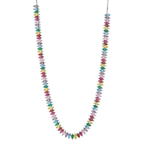 Sterling Silver Multi Colored Cubic Zirconia Necklace