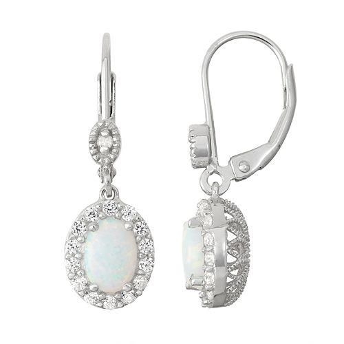 Sterling Silver Lab-Created Opal & Diamond Accent Halo Drop Earrings