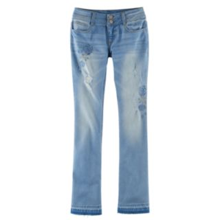 Girls Plus Size Mudd® Embroidered Flower Ripped Double-Button Skinny Bootcut Jeans