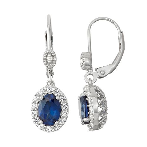 Sterling Silver Lab-Created Sapphire & Diamond Accent Halo Drop Earrings